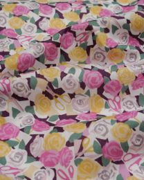 Liberty Tana Lawn Fabric - Paper Roses in Pink & Yellow