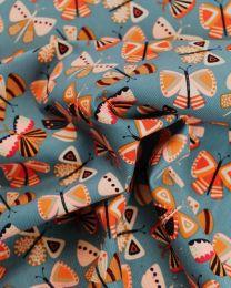 Cotton Babycord Fabric - Folk Butterflies