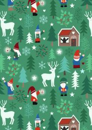 Christmas Patchwork Fabric - Hygge Glow - Tomte Forest Green