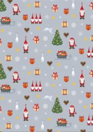 Christmas Patchwork Fabric - Festive Tomten Grey