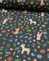 Cotton Jersey Fabric - Woodland Friends