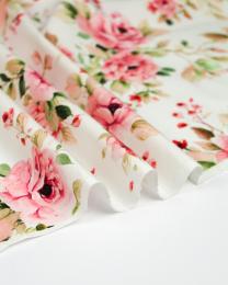 REMNANT Painted Rose Cotton Poplin Fabric - 200cm x 140cm
