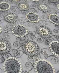 Embroidered Tulle Fabric - Circles in Grey