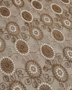 Embroidered Tulle Fabric - Circles in Brown