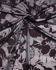 Polyester Jersey Fabric - Purple and Silver Floral