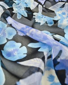 Silk Chiffon Fabric - Blue Floral
