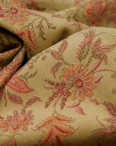 Cotton Needlecord Fabric - Antique Floral in Dusty Pink