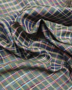 Wild Silk Fabric - Yellow & Red on Green Check