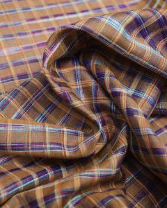 Wild Silk Fabric - Golden Orange & Blue Check