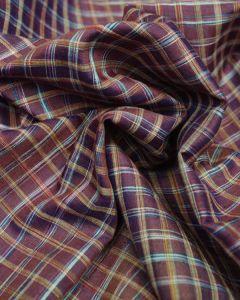 Wild Silk Fabric - Burgundy & Yellow Check