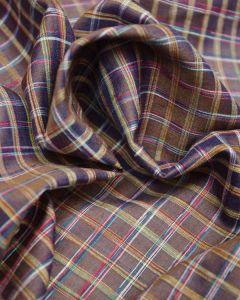 Wild Silk Fabric - Yellow & Purple Check