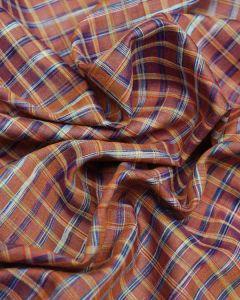 Wild Silk Fabric - Blue on Burnt Orange Check