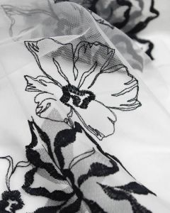 Embroidered Tulle Fabric - Monochrome Floral