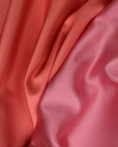 Double Faced Silk Mikado Fabric - Pink & Coral