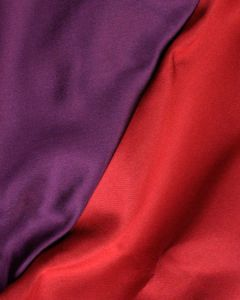 Double Faced Silk Mikado Fabric - Red & Purple