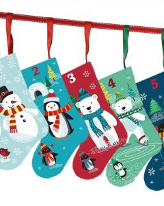 Christmas Cotton Fabric - Frosty Stocking Advent Panel