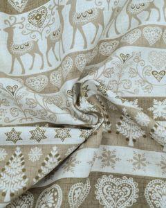 Christmas Cotton Fabric - Scandi Reindeer Stripe Biscuit