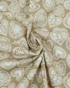Christmas Cotton Fabric - Scandi Hearts Biscuit