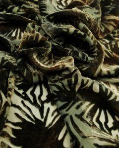 Silk Velvet Devore Fabric - Slate Blue & Brown Splash