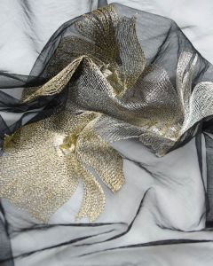 Embroidered Tulle Fabric - Metallic Floral
