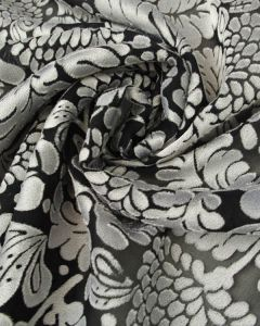 Polyester Devore Fabric - Black & Silver Floral