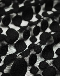 Embroidered Tulle Fabric - Bubbles Black