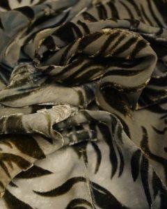 Silk Velvet Devore Fabric - Green Flame