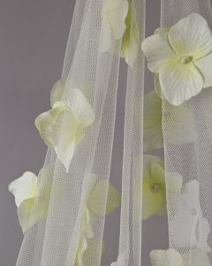 Cascading Flowers on Tulle Fabric - Ivory