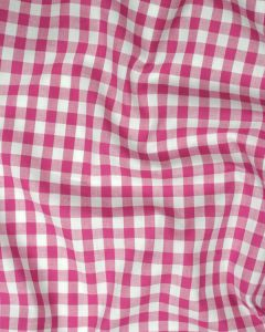 Cotton Gingham 1cm Fabric - Deep Pink