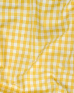 REMNANT Yellow Cotton Gingham Fabric - 60cm x 144cm