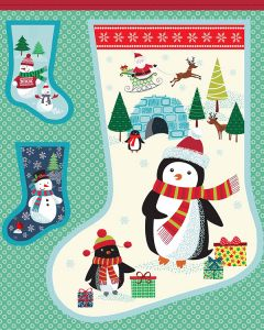 Christmas Cotton Fabric - Frosty Stocking Panel