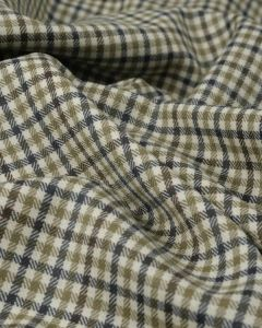 Pure Wool Suiting Fabric - Brown & Grey Check