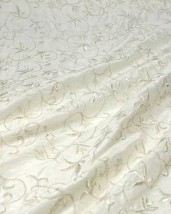 REMNANT Embroidered Silk Dupion Fabric - Scrolling Floral Silver