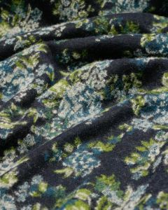 REMNANT Wool Blend Jersey Fabric - Rose Jacquard Blue