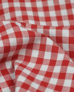 Cotton Gingham 1cm Fabric - Red