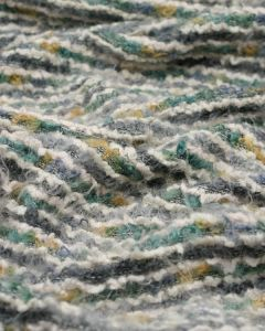 Wool Blend Boucle Jersey Fabric - Light Green Multi Stripe