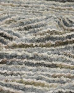 Wool Blend Boucle Jersey - Grey Multi Stripe