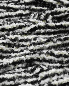 Wool Blend Boucle Jersey Fabric - Black & Cream Stripe