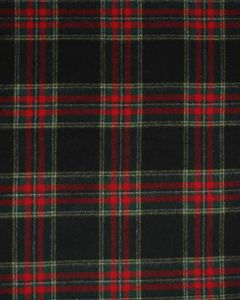 Wool Blend Coating Fabric - Black & Red Tartan