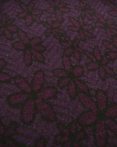 Wool & Alpaca Jersey Fabric - Purple Floral