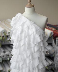 Ruffle Georgette Fabric - Ivory
