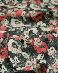 Wool Challis Fabric - Scatter Floral Red