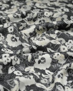 Wool Challis Fabric - Scatter Floral Grey