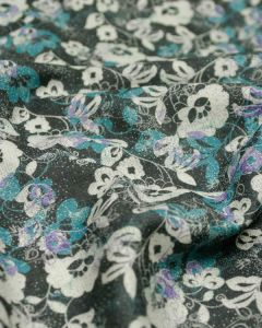 Wool Challis Fabric - Scatter Floral Blue