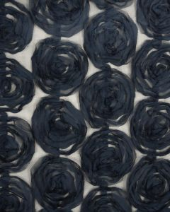 Rose Tulle Fabric - Navy Blue