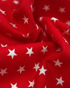 Stars Print Cotton Fabric - White on Red