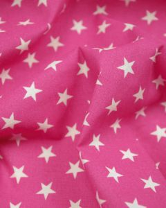 Stars Print Cotton Fabric - White on Hot Pink