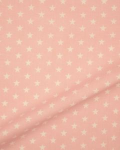 Stars Print Cotton Fabric - White on Baby Pink