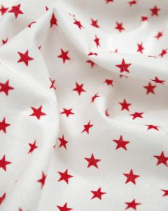 Stars Print Cotton Fabric - Red on White