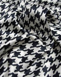 Stretch Poly Satin Fabric - Houndstooth Black & White